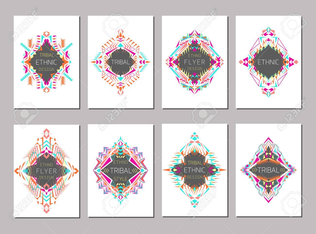 Moderne Ethno Ikat Muster. Satz Geometrischer Bunte Broschüre Vorlagen Für  Business Und Einladung. Ethnische, Tribal, Aztekische Stil