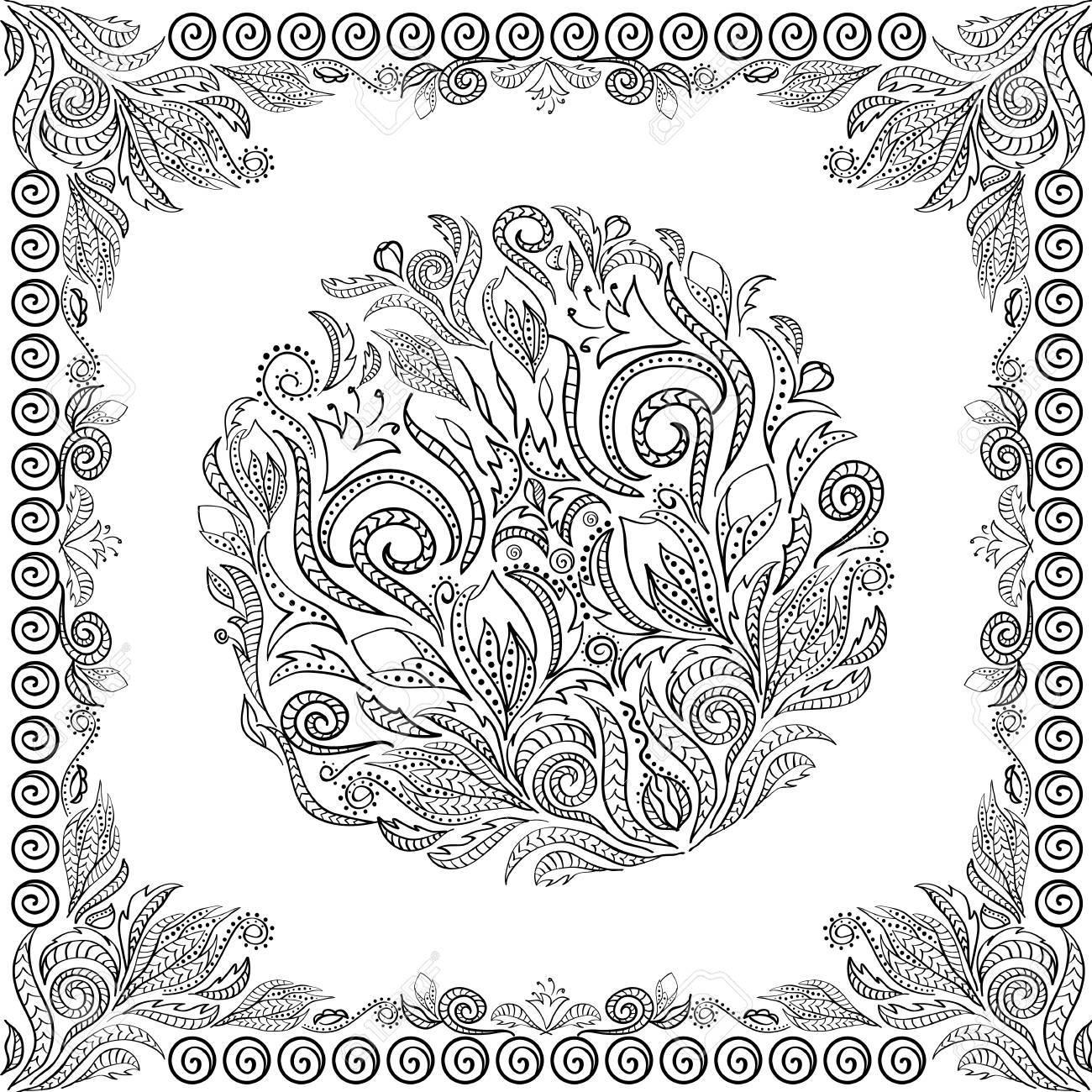 Vector Libro Para Colorear Para Adultos Y Niños Doodle Flores Dibujado A Mano Zentangle Con Adornos Florales Y étnicos Página Para Relajarse Y
