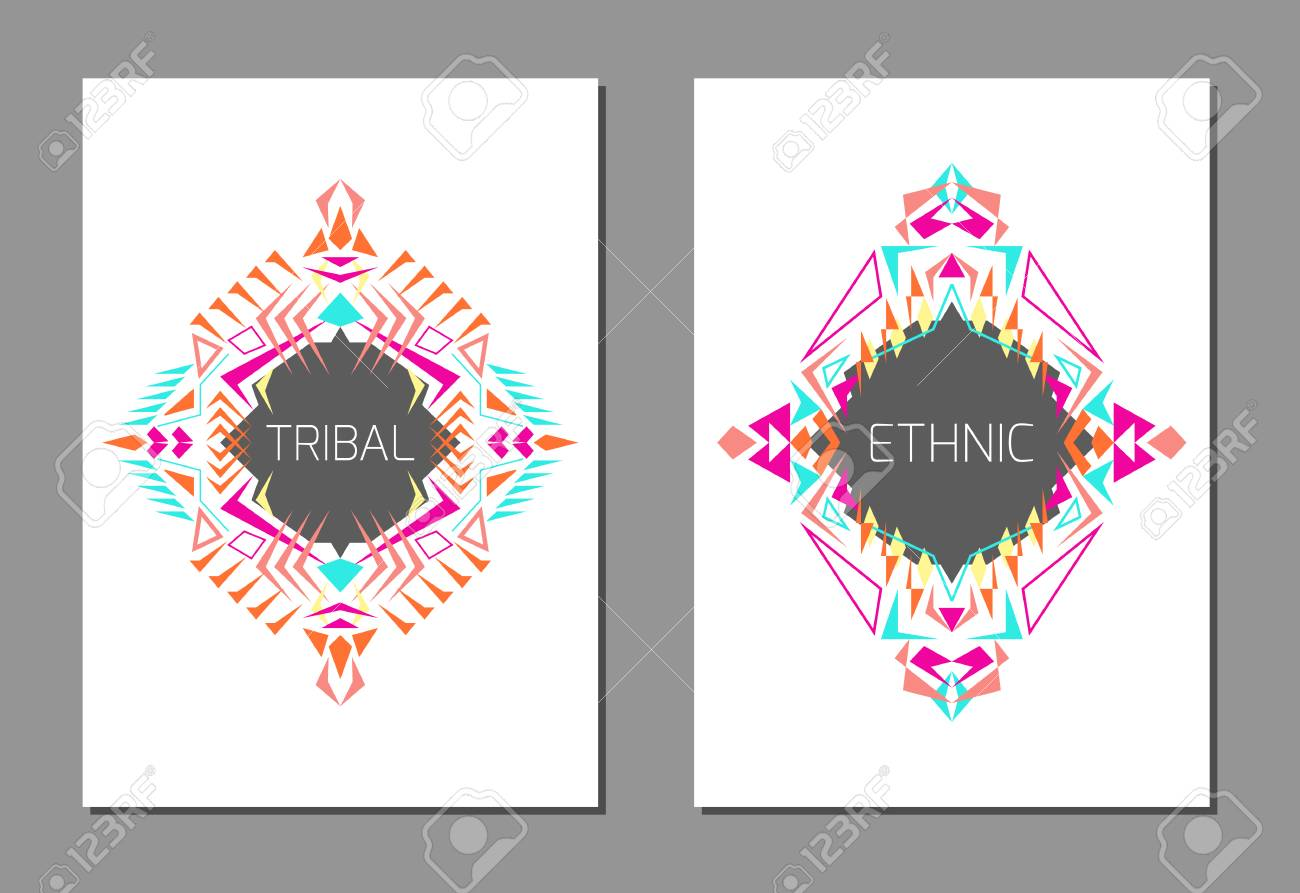 Vector set of geometric colorful brochure templates for business vector vector set of geometric colorful brochure templates for business and invitation ethnic tribal aztec style a4 layout format stopboris Choice Image