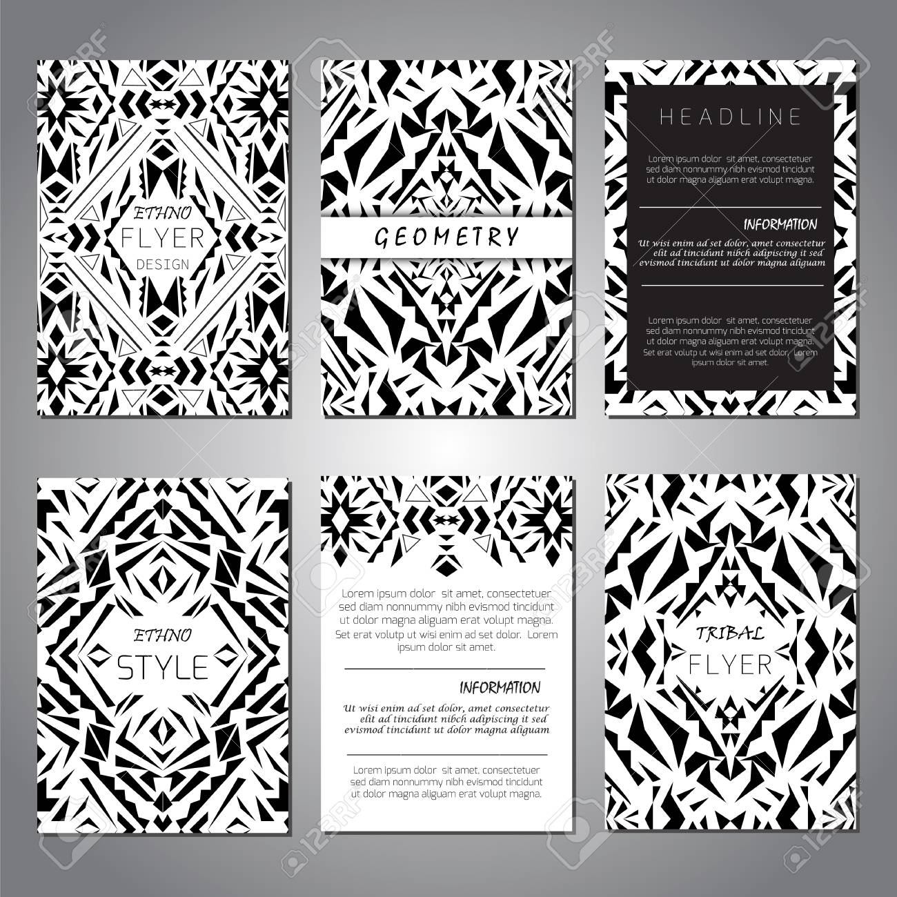 Modern Ethno Ikat Pattern. Set Of Vector Geometric Black And White Brochure  Templates For Business And Invitation. A4 Layout