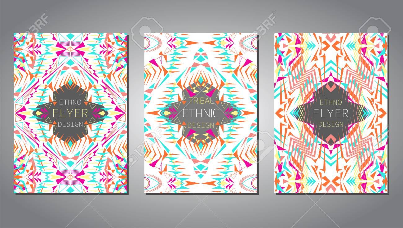 ... Reihe Von Geometrischen Bunten Broschüre Vorlagen Für Business Und  Einladung. Ethnische, Tribal, Aztekische Stil. A4 Format. Moderne Ethno Ikat  Muster
