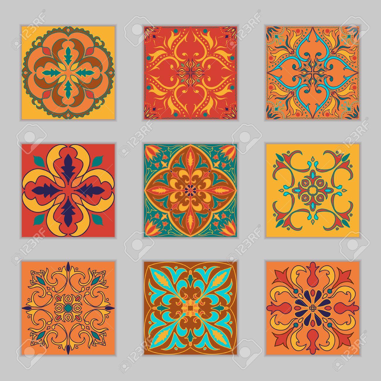 conjunto de azulejos portugueses vector patrones de colores bonitos para el diseo y la moda