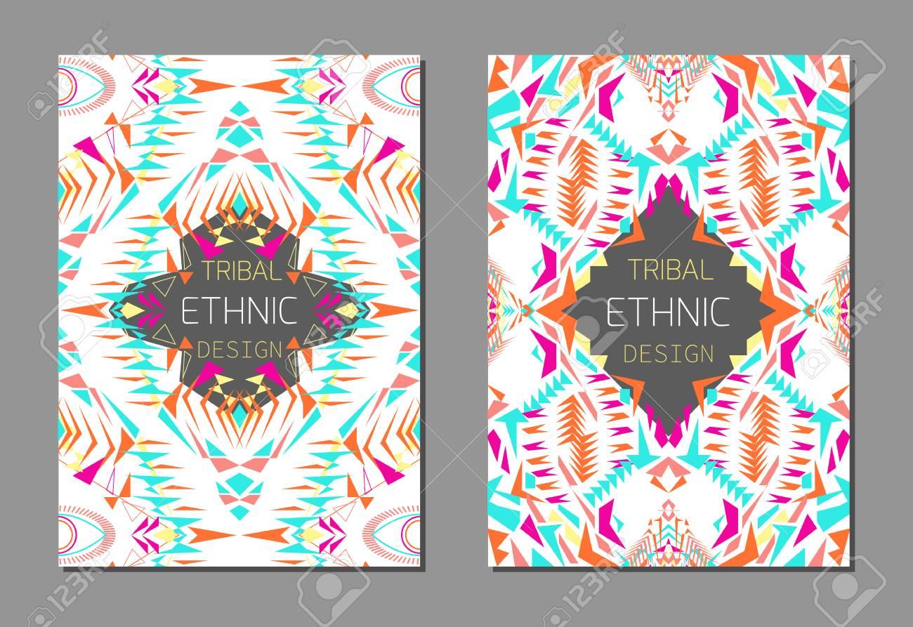 GroBartig ... Reihe Von Geometrischen Bunten Broschüre Vorlagen Für Business Und  Einladung. Ethnische, Tribal, Aztekische Stil. A4 Format. Moderne Ethno Ikat  Muster