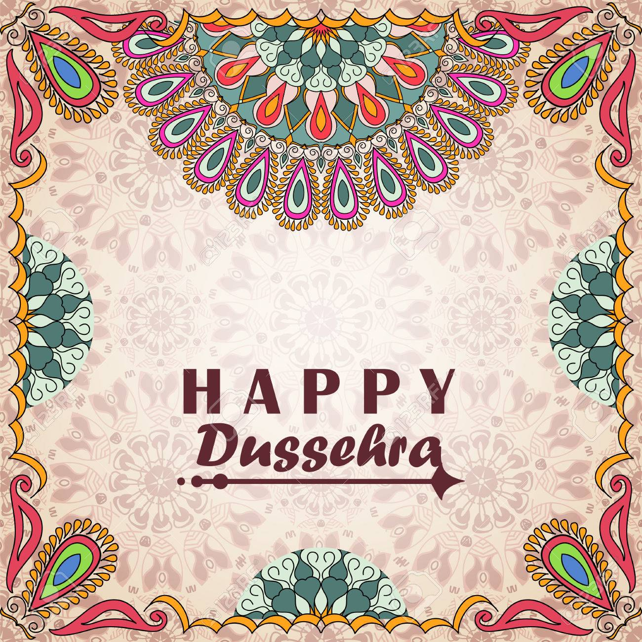 Greeting card to indian festival vijayadashami happy dussehra greeting card to indian festival vijayadashami happy dussehra congratulations background with text and mandalas m4hsunfo