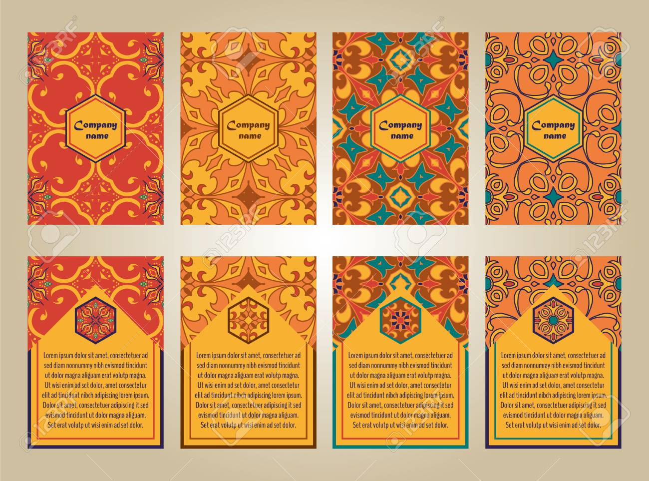 set of colorful brochure templates for business and invitation