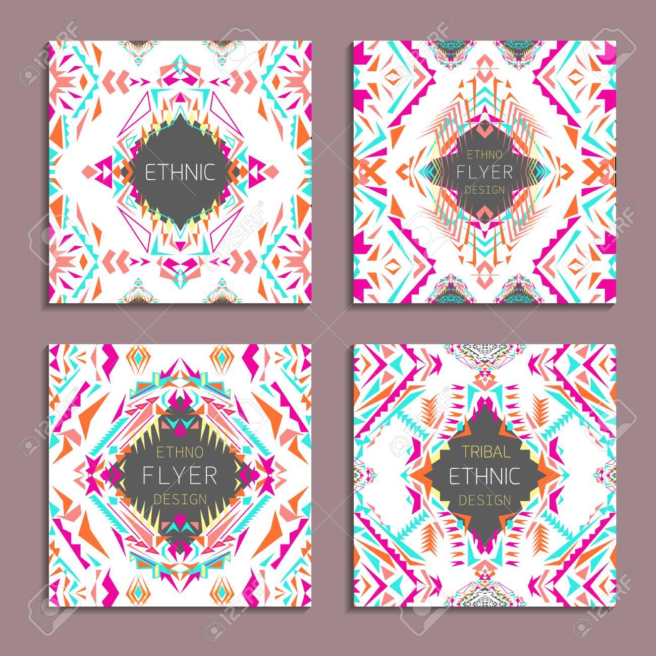 ... Vektorsatz Geometrische Bunte Hintergründe. Kartenvorlagen Für Business  Und Einladung. Ethnisch, Tribal, Aztekischer Stil. Modernes Ethno Ikat  Muster