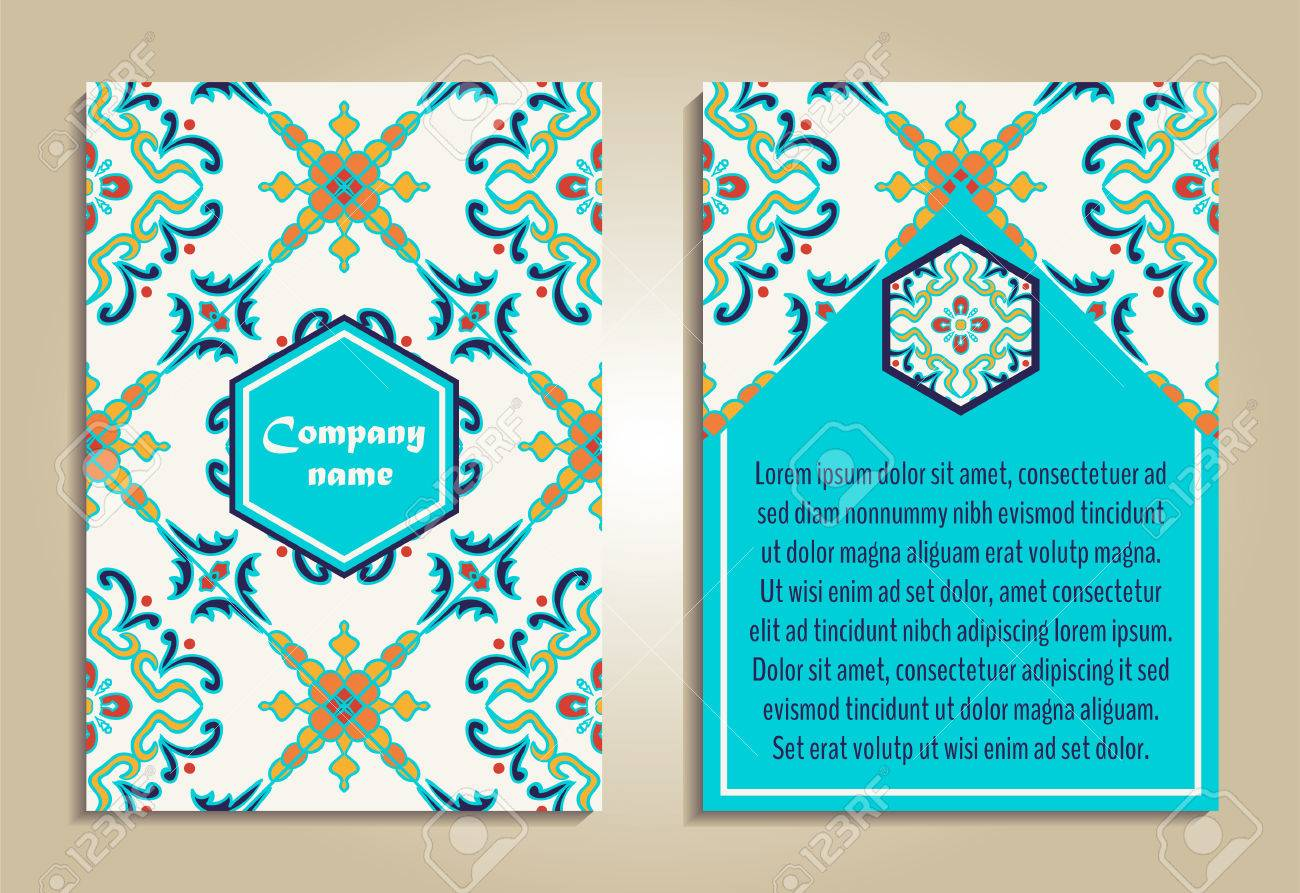 vector set of colorful brochure templates for business and invitation portuguese moroccan azulejo - Colorful Brochure Templates