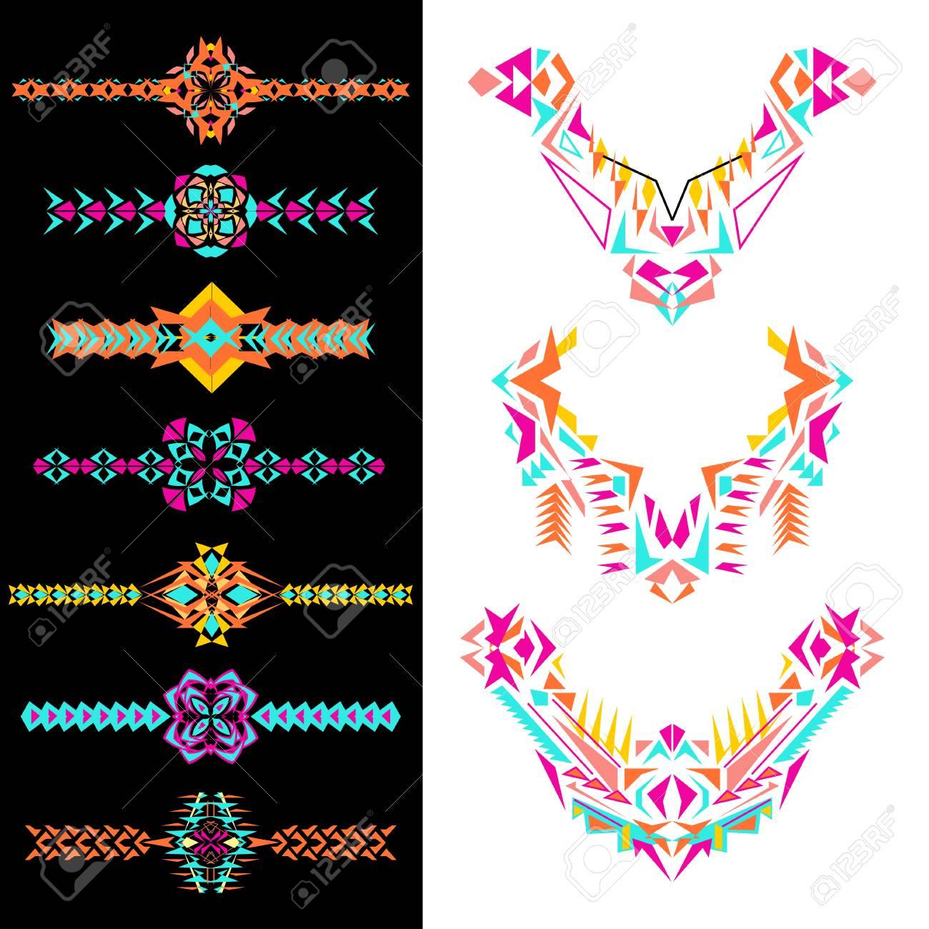 Conjunto De Elementos Decorativos Para El Diseño Y La Moda En El Estilo étnico Tribal Escote Bordes Y Patrones Azteca Adornos