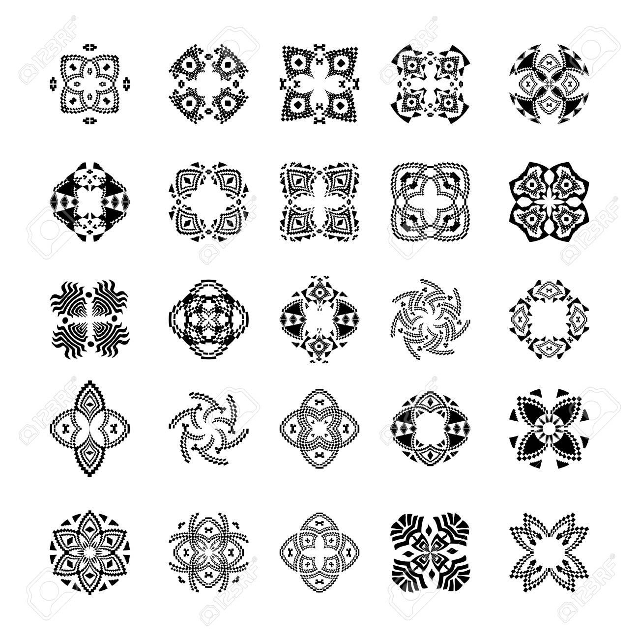 Vector Conjunto De Patrones Tribales Tribales Y Blancos Decorativos ...