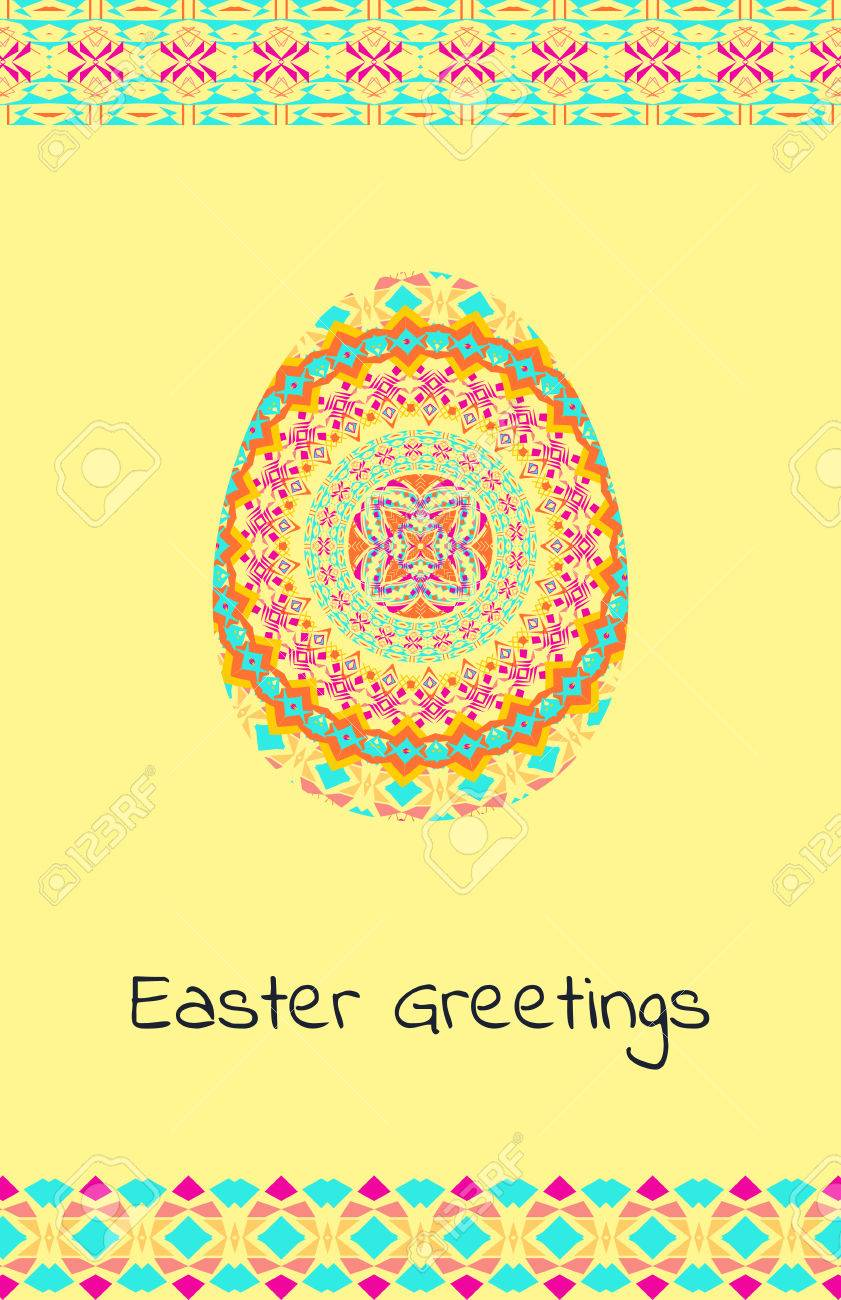 Vector Happy Easter Background With Easter Egg And Tribal Geometric