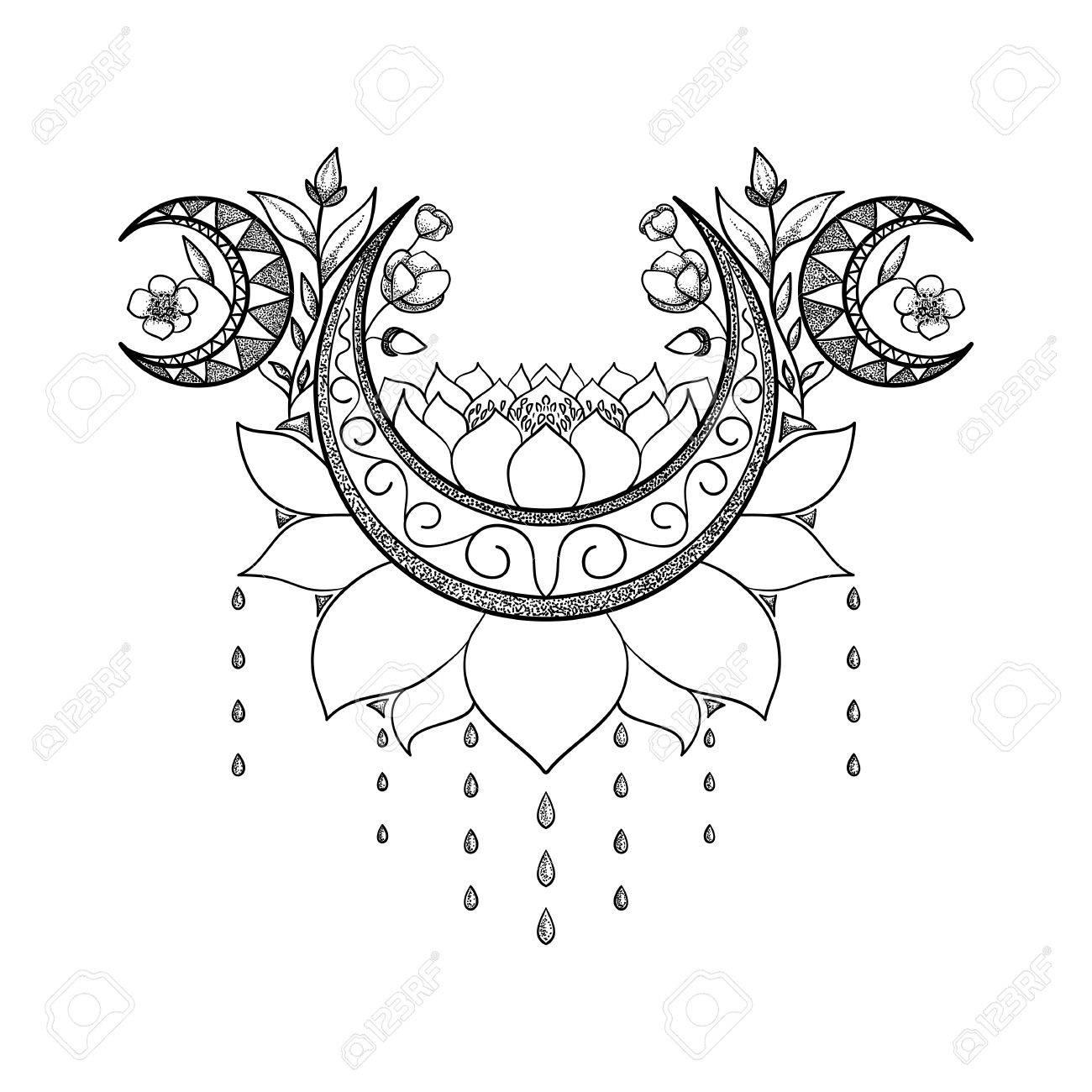 Vector Hand Dessine La Conception De Tatouage Croissant De Lune La