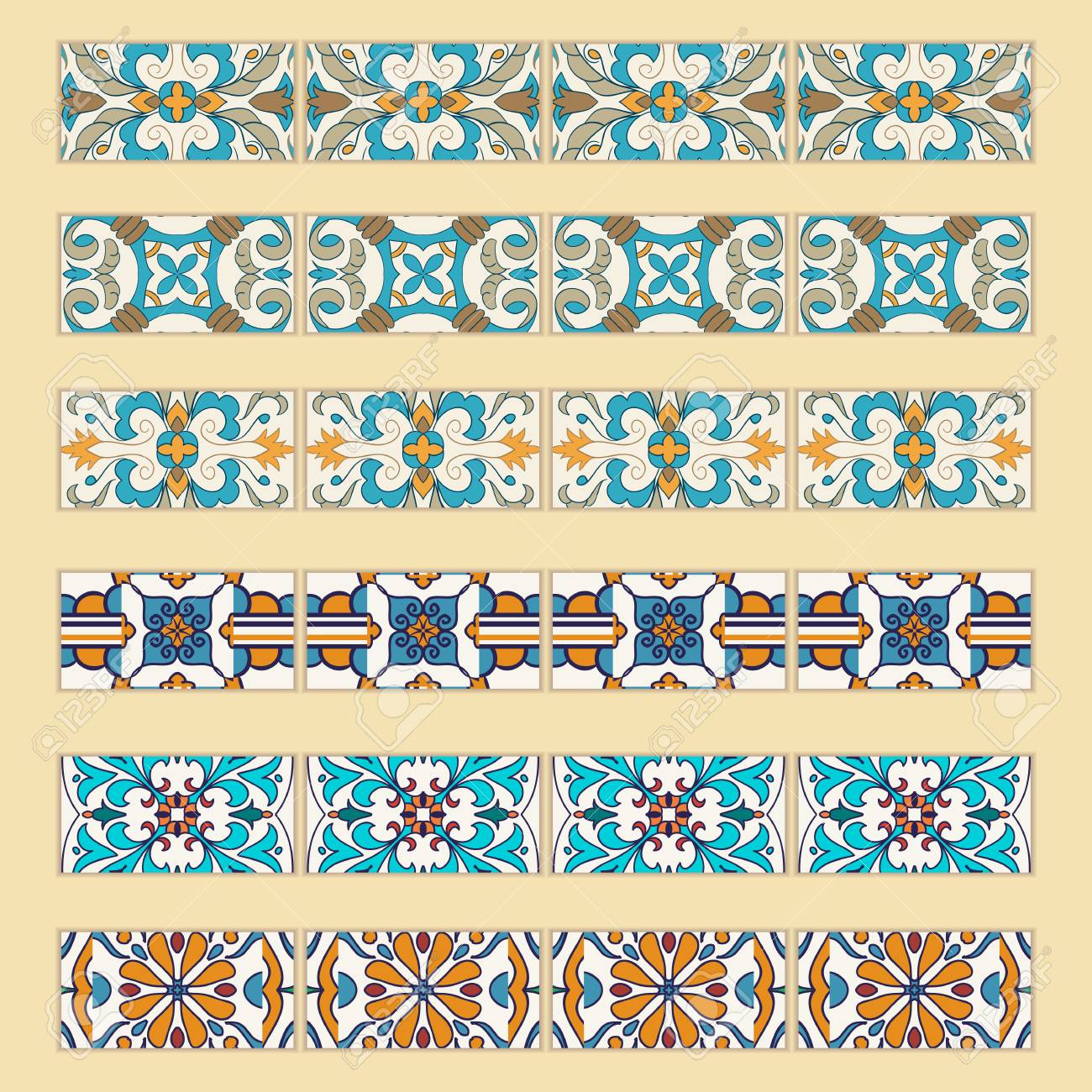Vector Set Of Decorative Tile Borders. Collection Of Colored ...