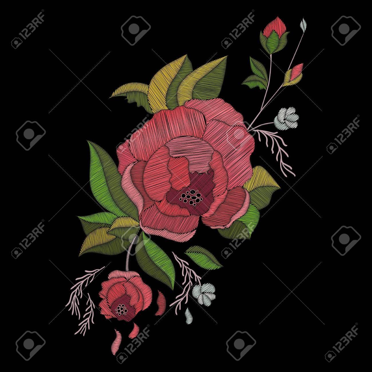 Vector Diseño De Bordado. Patrón Floral Bordado Con Rosas Y Burgeons ...