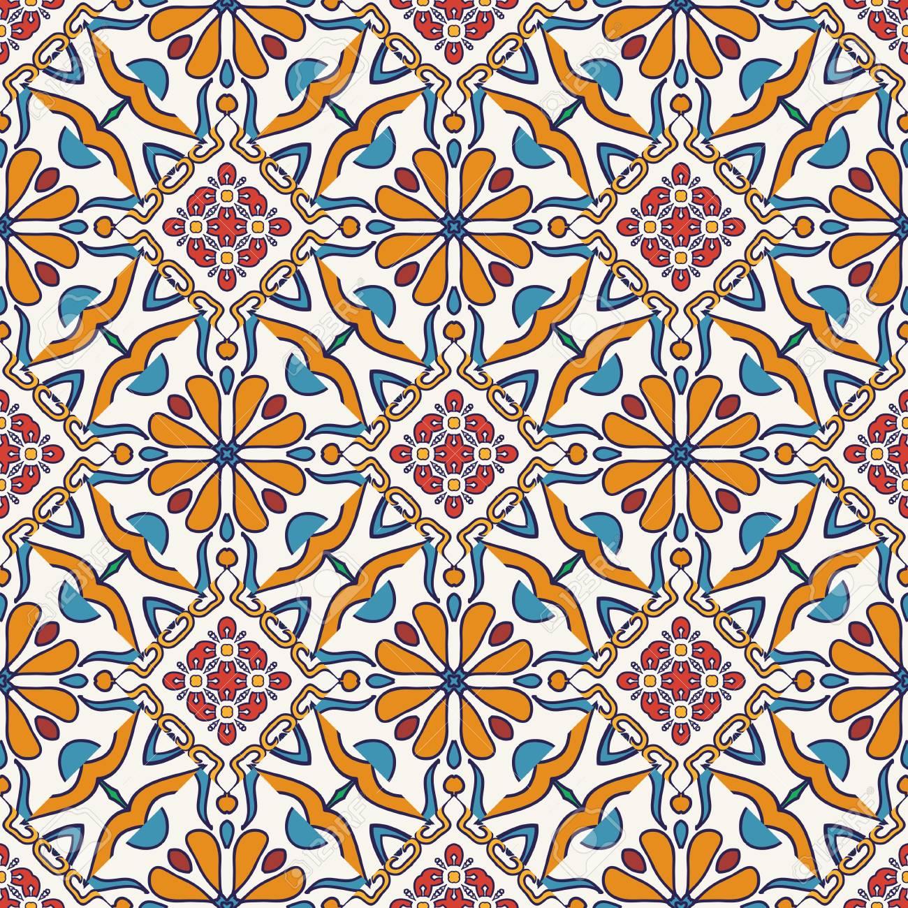 Piastrelle Decorative Per Tavoli vector trama senza soluzione di continuità. bello modello colorato per  design e moda con elementi decorativi. piastrelle portoghesi, ottomano,