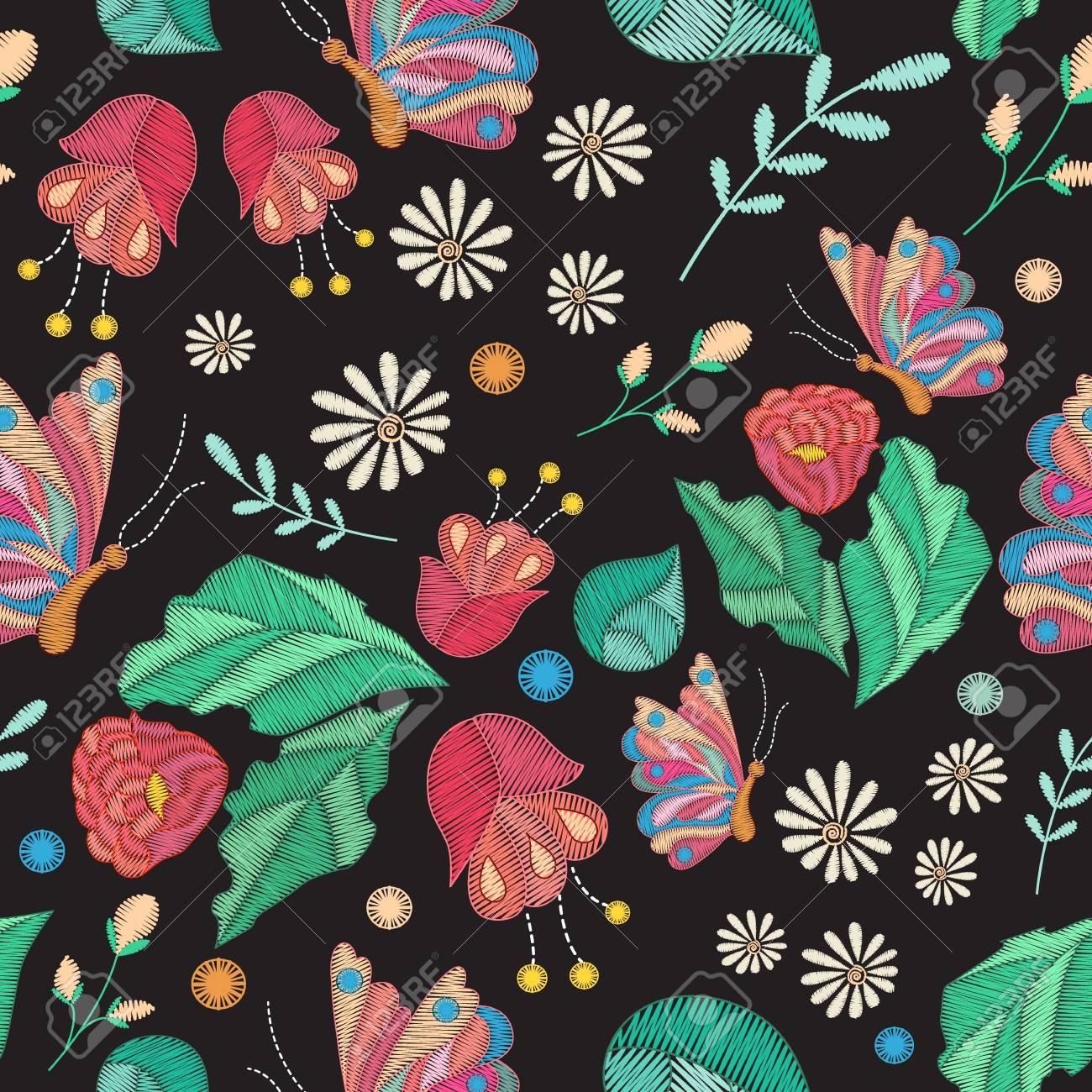 Vector Textura Perfecta Con Diseño De Bordado. Patrón Floral ...