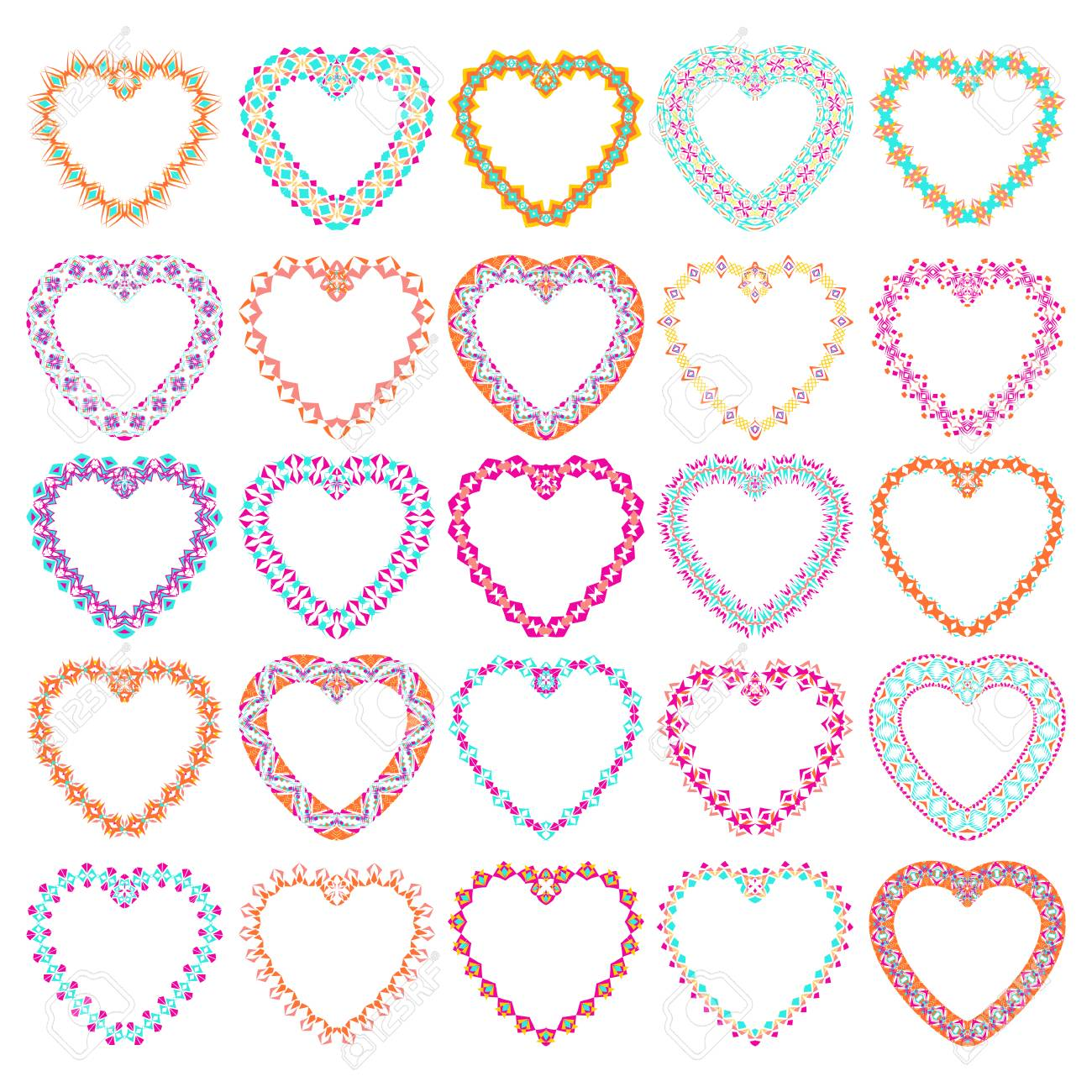 cdec3cdf4c Vector - Vector set of tribal colorful heart shaped decorative frames for  design. Aztec ornamental style. Ethnic native american indian ornaments