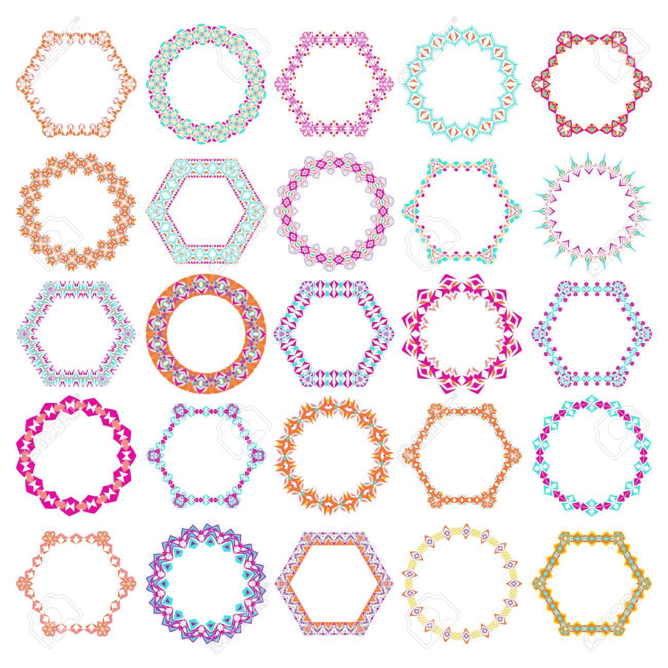 Cornici Colorate Per Foto vector set di cornici colorate rotonde tribali e esagonali decorativi per i  progettisti. ornamento di ornamento etnico etnico etnico etnico indiano