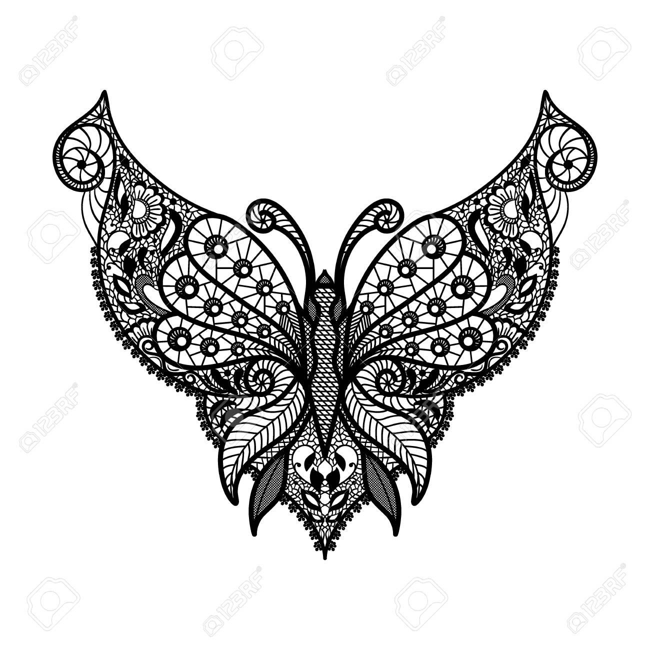 Forma De Mariposa De Vector Y Ornamento Floral Elemento Decorativo ...