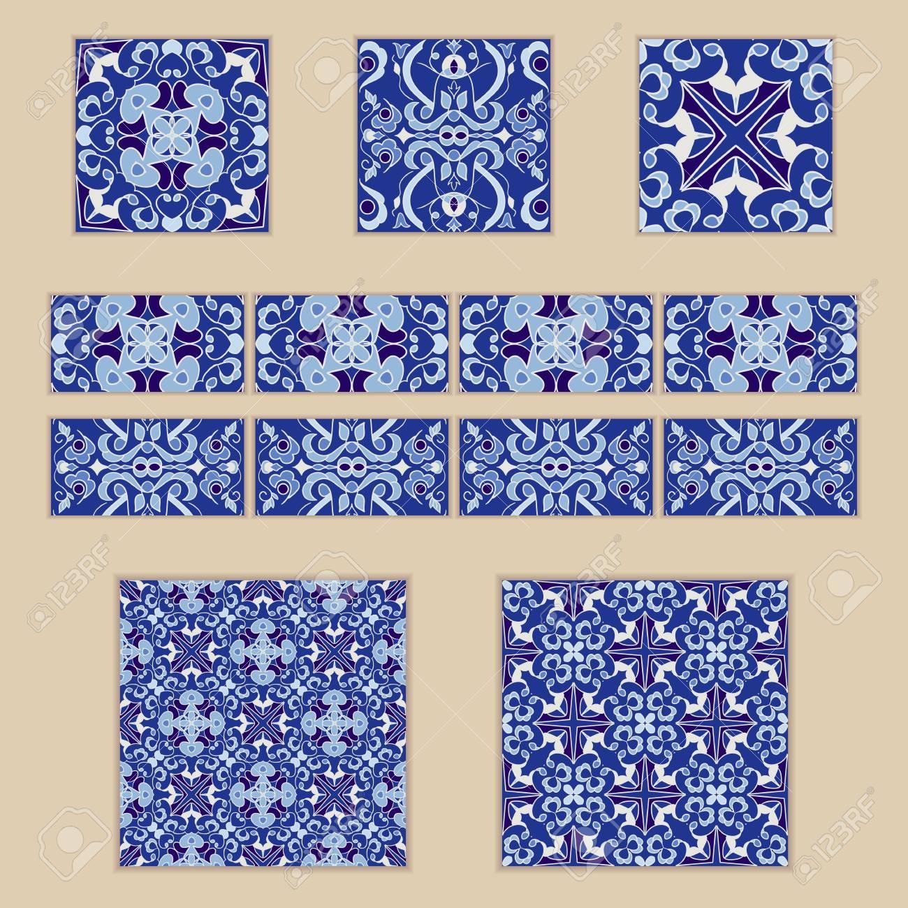 Hochwertig Standard Bild   Vektorsatz Portugiesische Fliesen Und Grenzen. Sammlung Von  Farbigen Mustern Für Design Und Mode. Spanische, Marokkanische, Türkische  ...