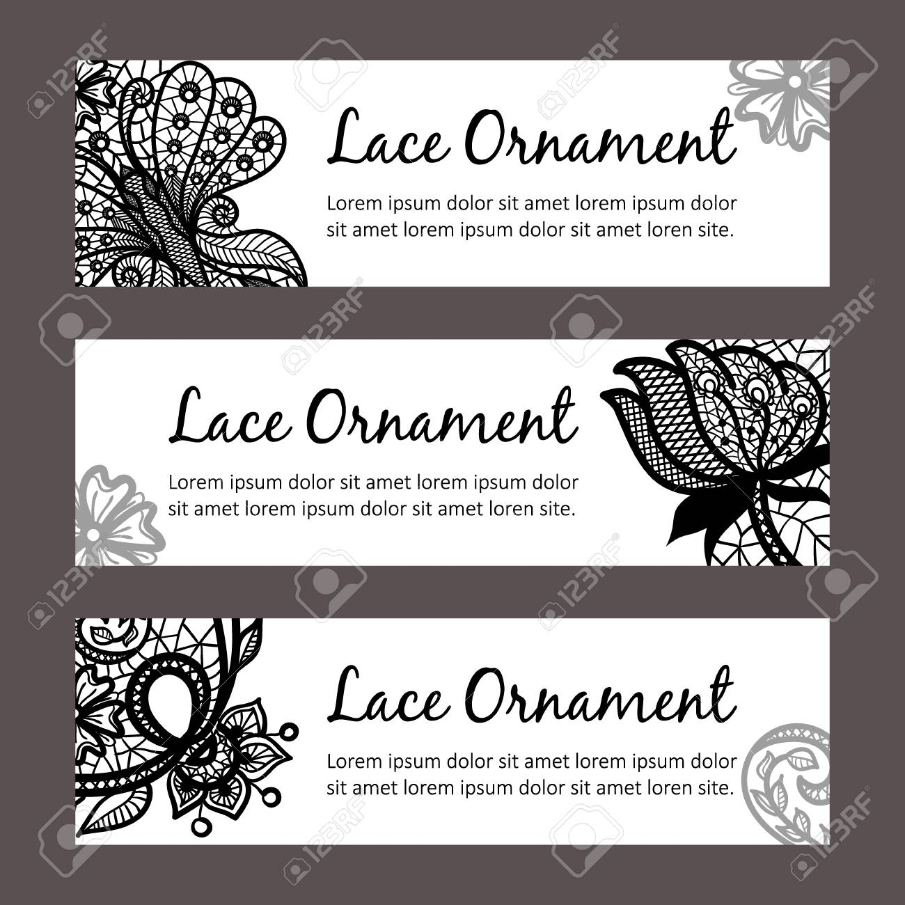 Card Templates With Lace Ornament. Horizontal Banners Design ...