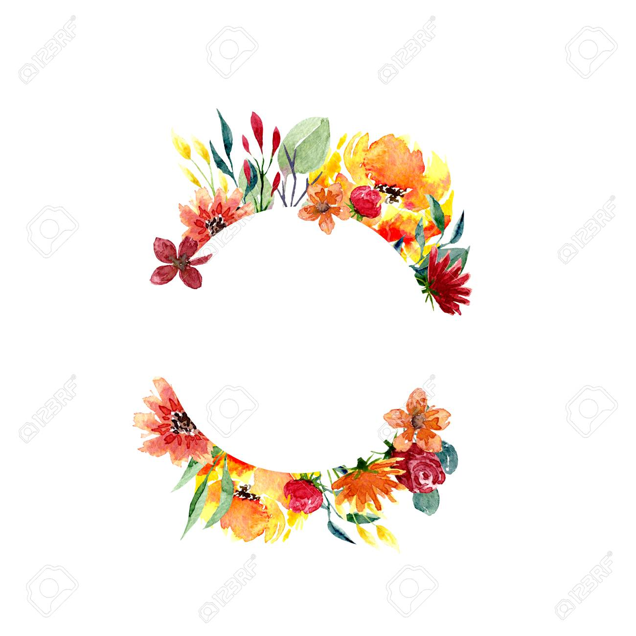 Watercolor Floral Frame Background With Fresh Foliage Bright