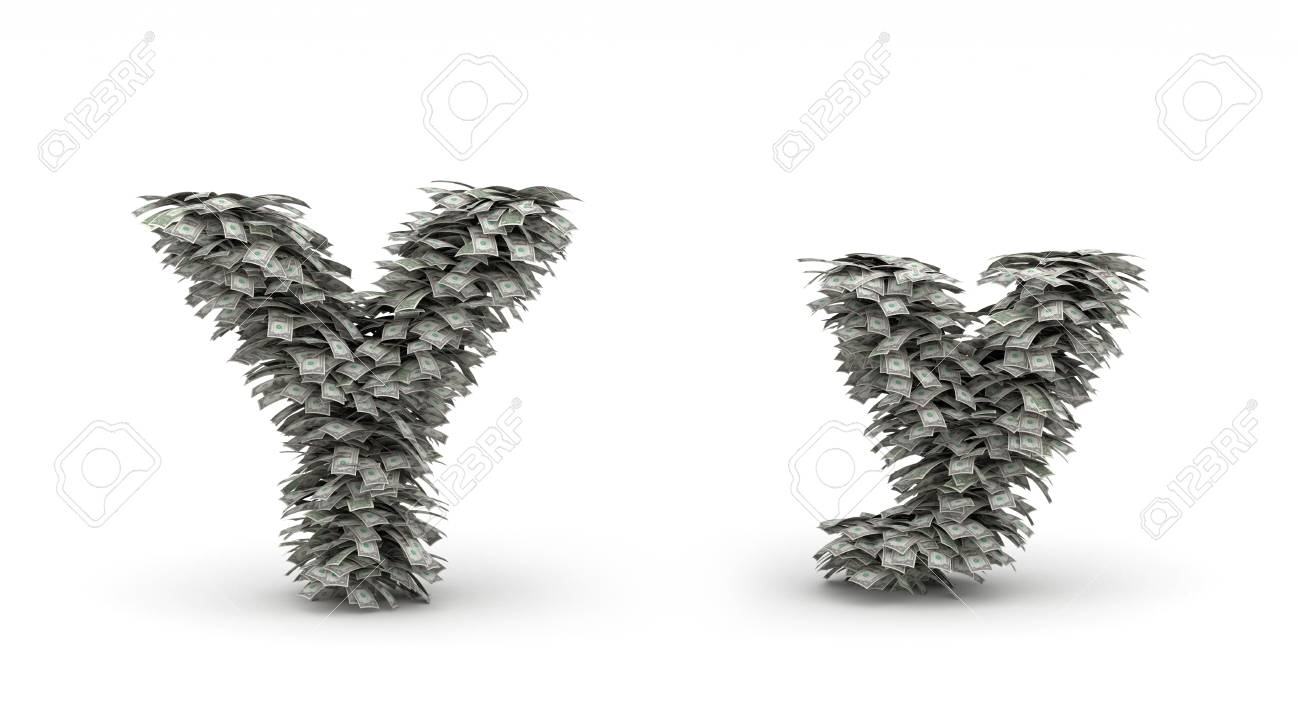 Figure maked from dollars like leafs, symbol of letter y Stock Photo - 12668854
