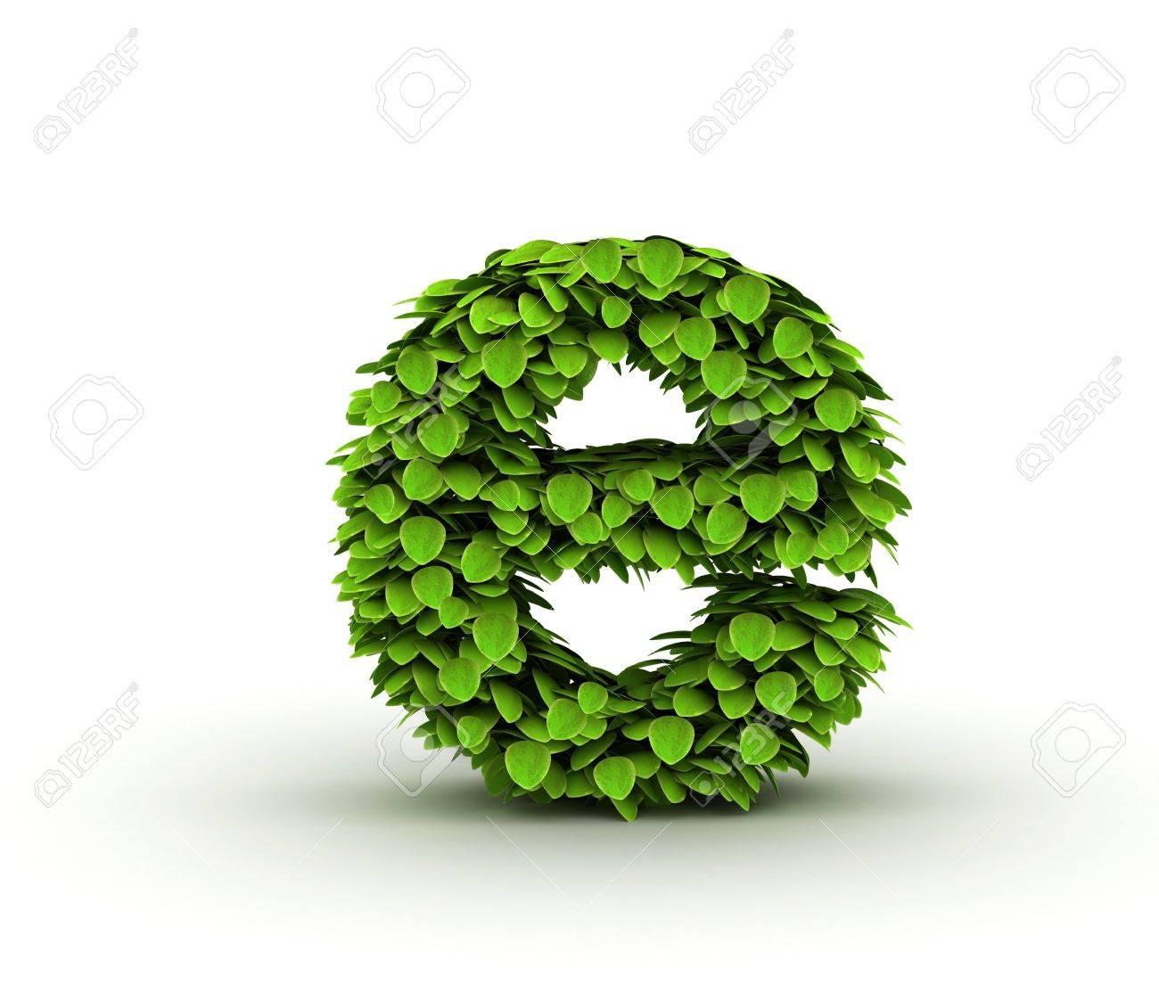 letter e alphabet of green leaves isolated on white background