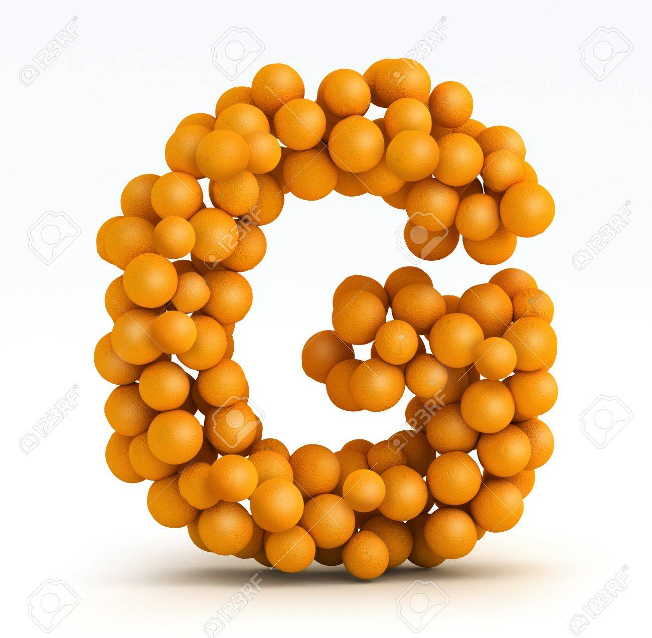 Letter G, font of orange citrus fruits on white background Stock Photo - 13285559