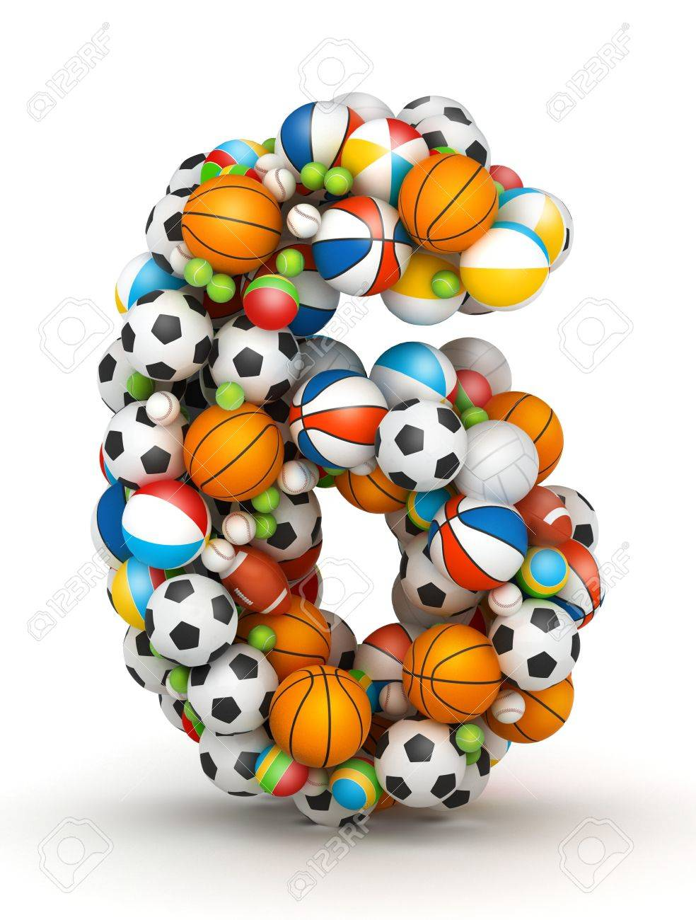 Number 6, stacked from gaming balls alphabet Stock Photo - 14491798
