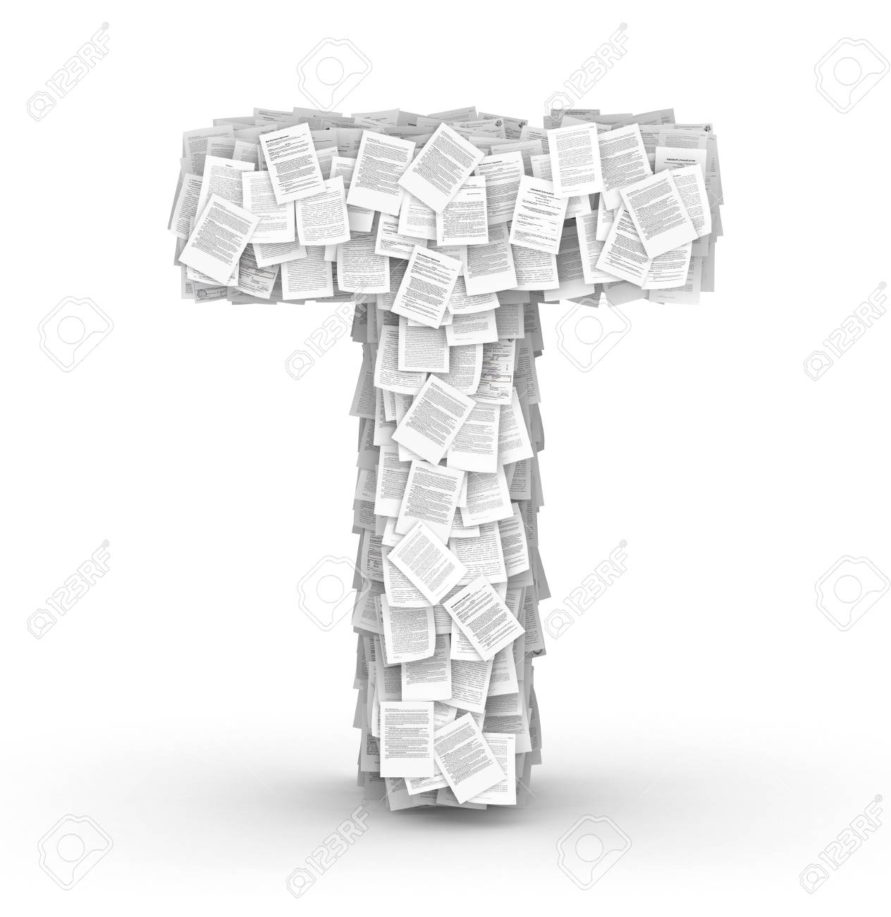 Letter  T, from thousands of documents font Stock Photo - 16861714