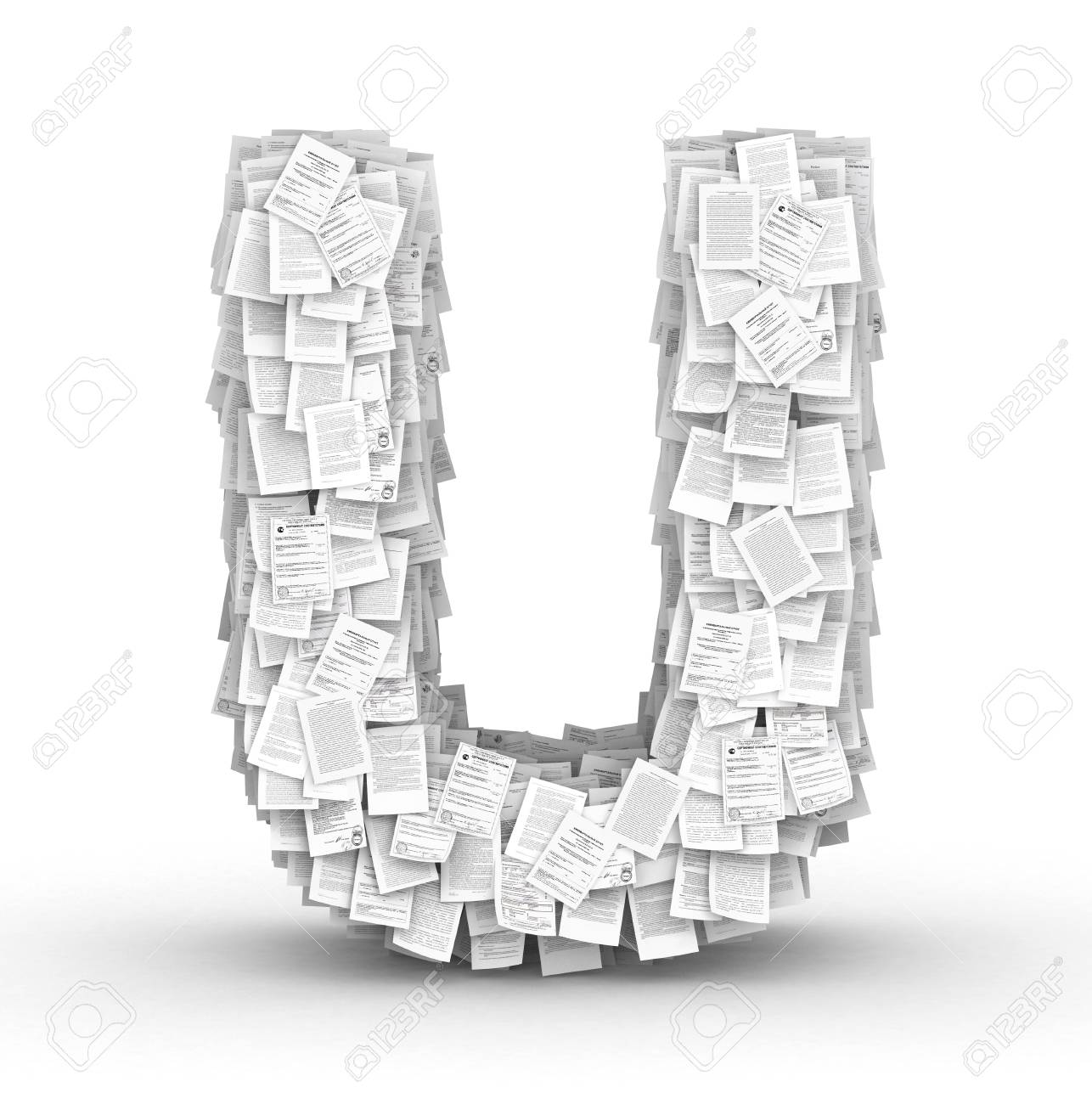 Letter  U, from thousands of documents font Stock Photo - 16861756