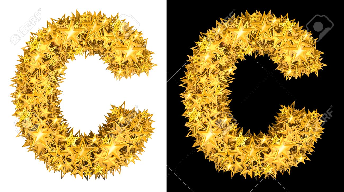 Gold shiny stars letter C, black and white background Stock Photo - 17994278