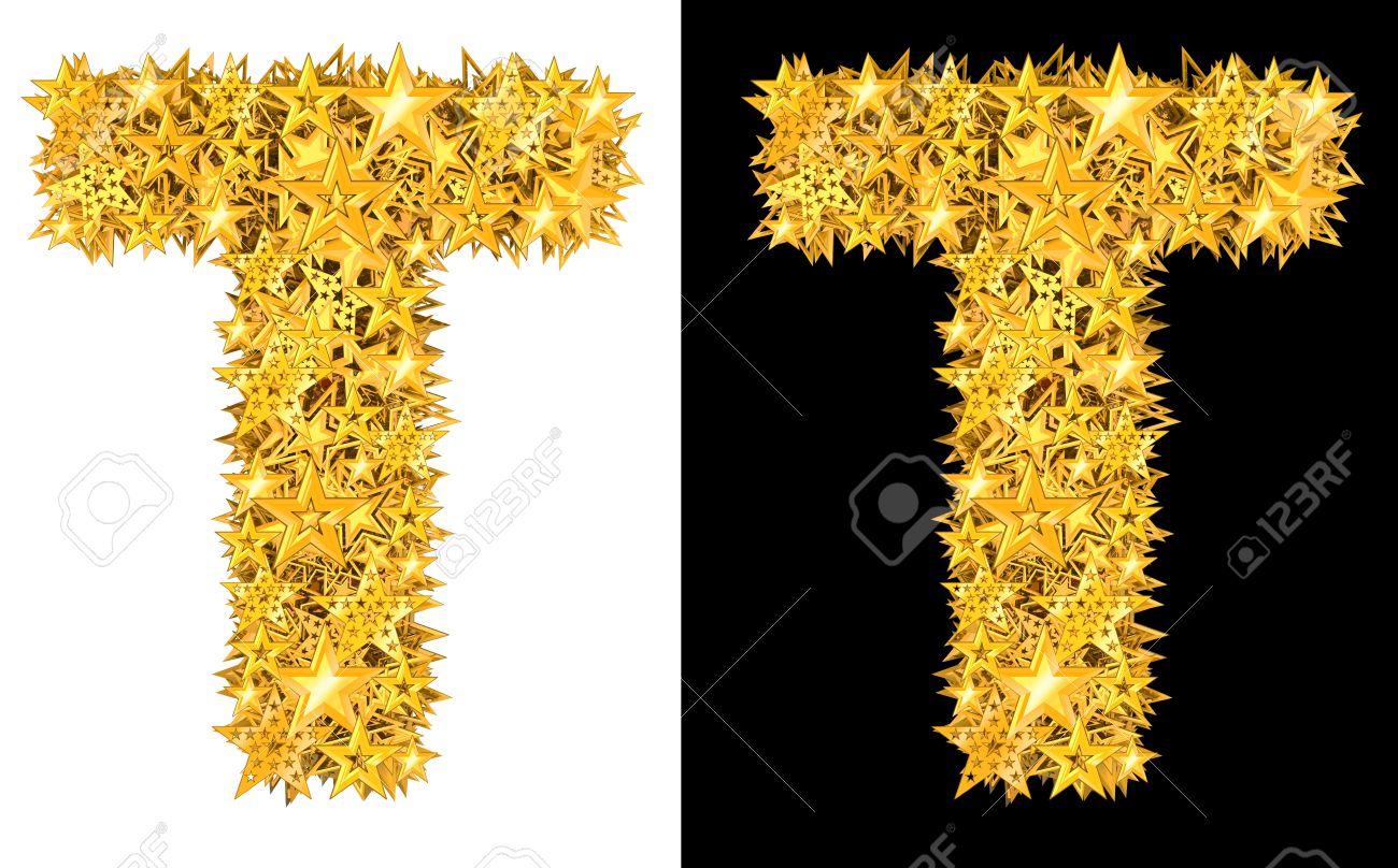 Gold shiny stars letter T, black and white background Stock Photo - 17994270