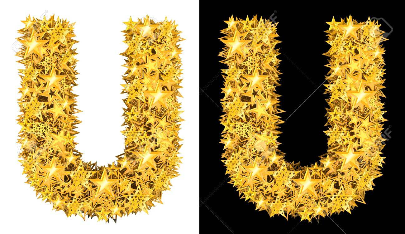 Gold shiny stars letter U, black and white background Stock Photo - 17994319