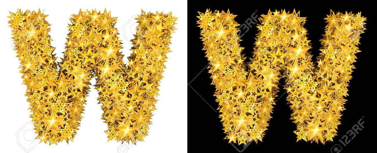 Gold shiny stars letter W, black and white background Stock Photo - 17994334