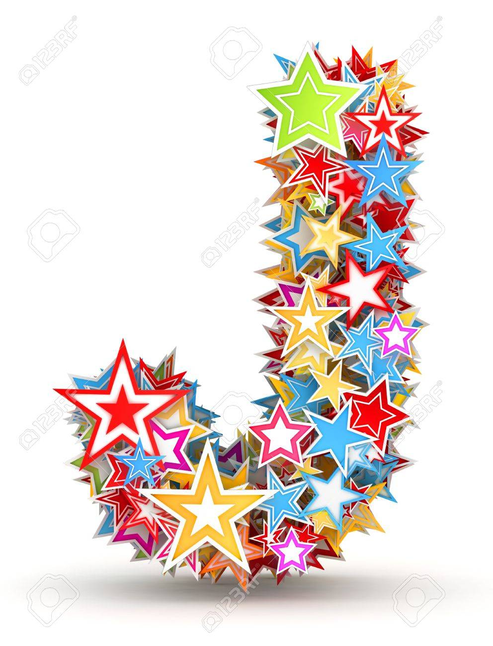 Letter J, from bright colored holiday stars staked Stock Photo - 18186205