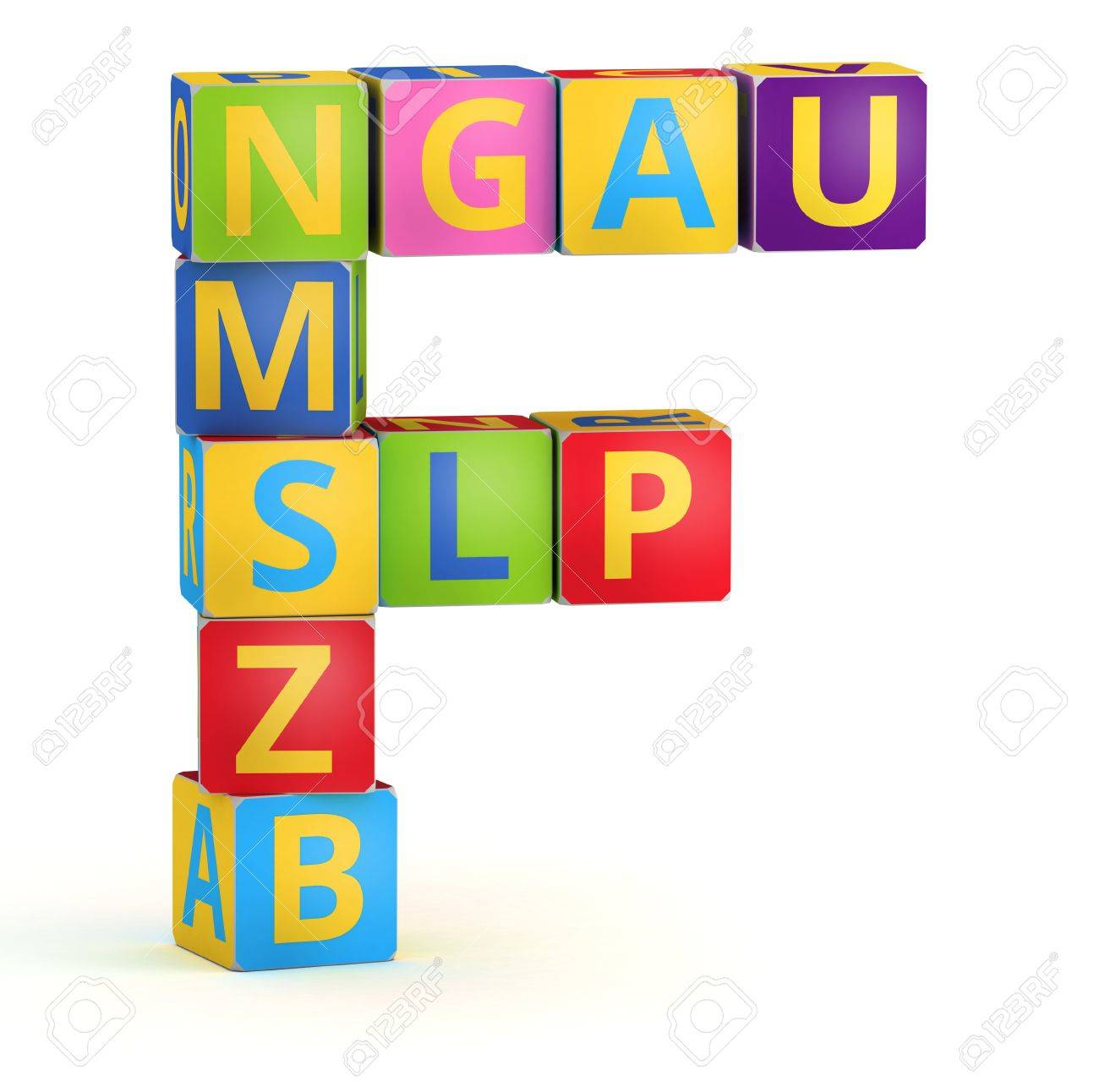 Letter F from ABC cubes for kid spell education Stock Photo - 18966918