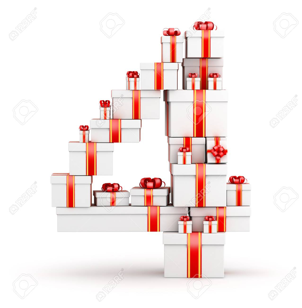 Number 4 from  boxes of gifts decorated with red ribbons Stock Photo - 19421944