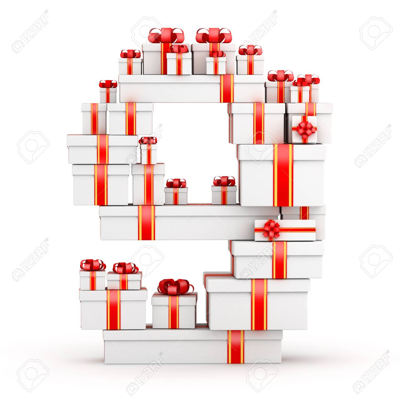 Number 9 from  boxes of gifts decorated with red ribbons Stock Photo - 19422048