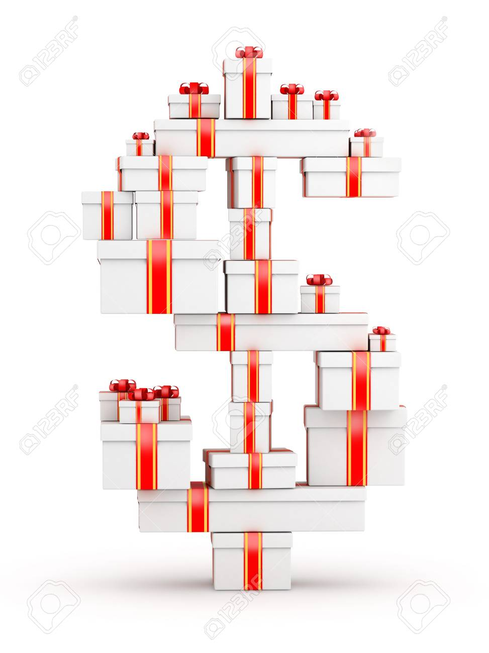 Dollar sign from  boxes of gifts decorated with red ribbons Stock Photo - 19421942