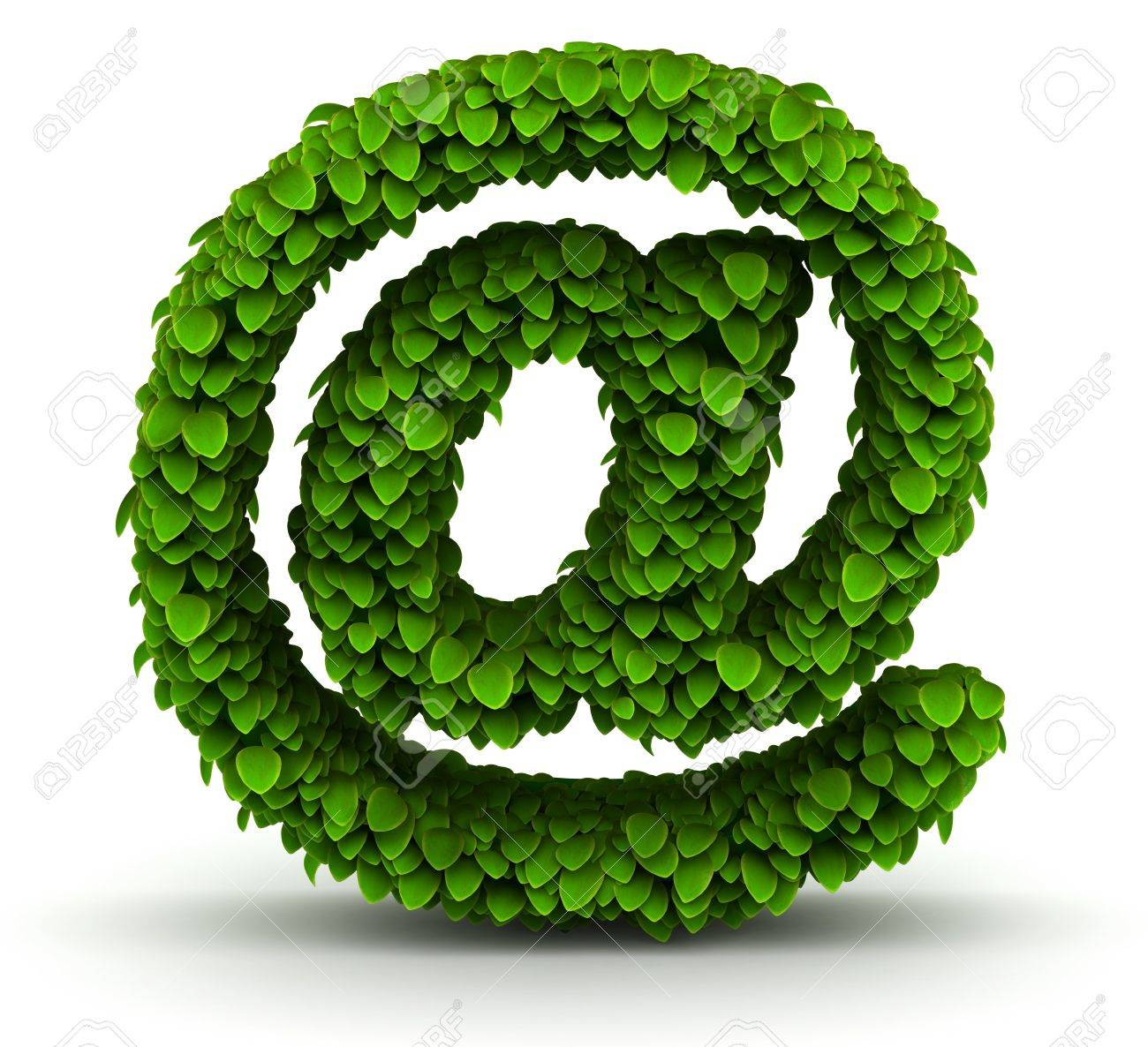 At E Mail Symbol Green Leaves Font Ecology Theme On White Background