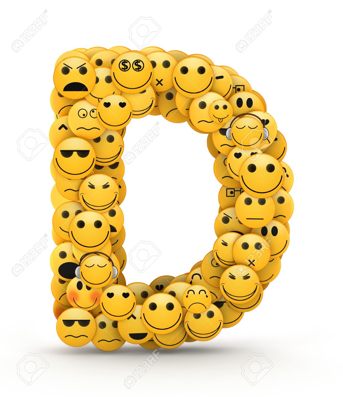 Letter D Compiled From Emoticons Smiles With Different Emotions