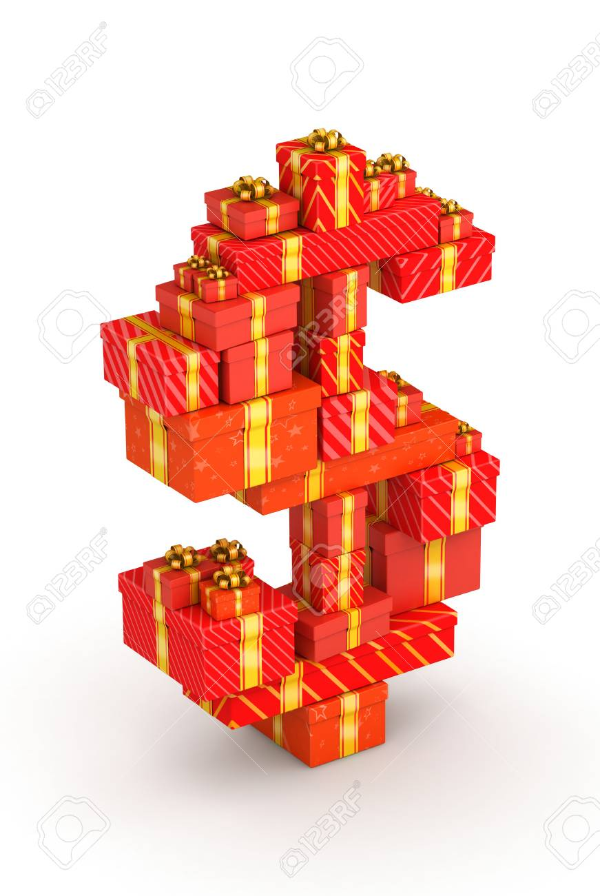 Dollar sign from gift boxes in isometric decorated with yellow ribbons Stock Photo - 23110901