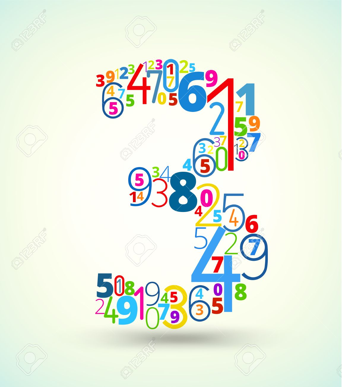 Color art tipografia - Number 3 From Rainbow Colored Numbers Typography Vector Font Stock Vector 23825689