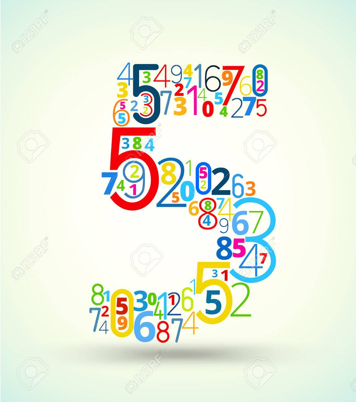 Color art tipografia - Number 5 From Rainbow Colored Numbers Typography Vector Font Stock Vector 23825690