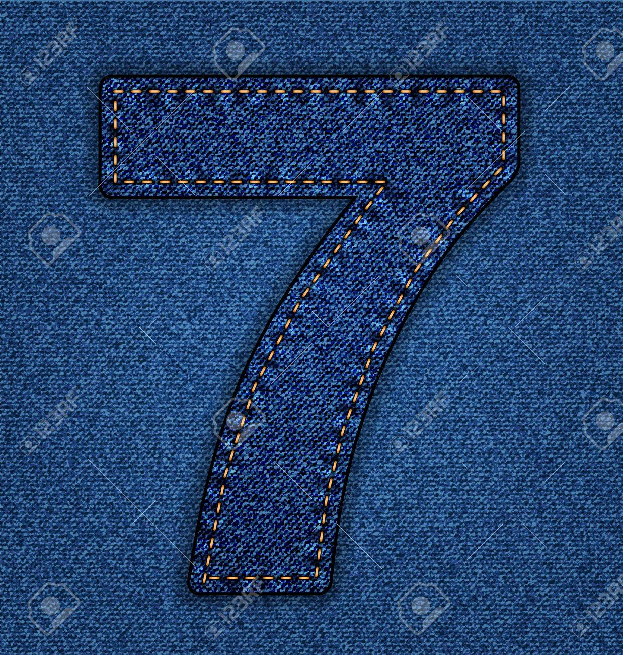 Denim Number 7. Jeans Alphabet. Vector Font With Background ...