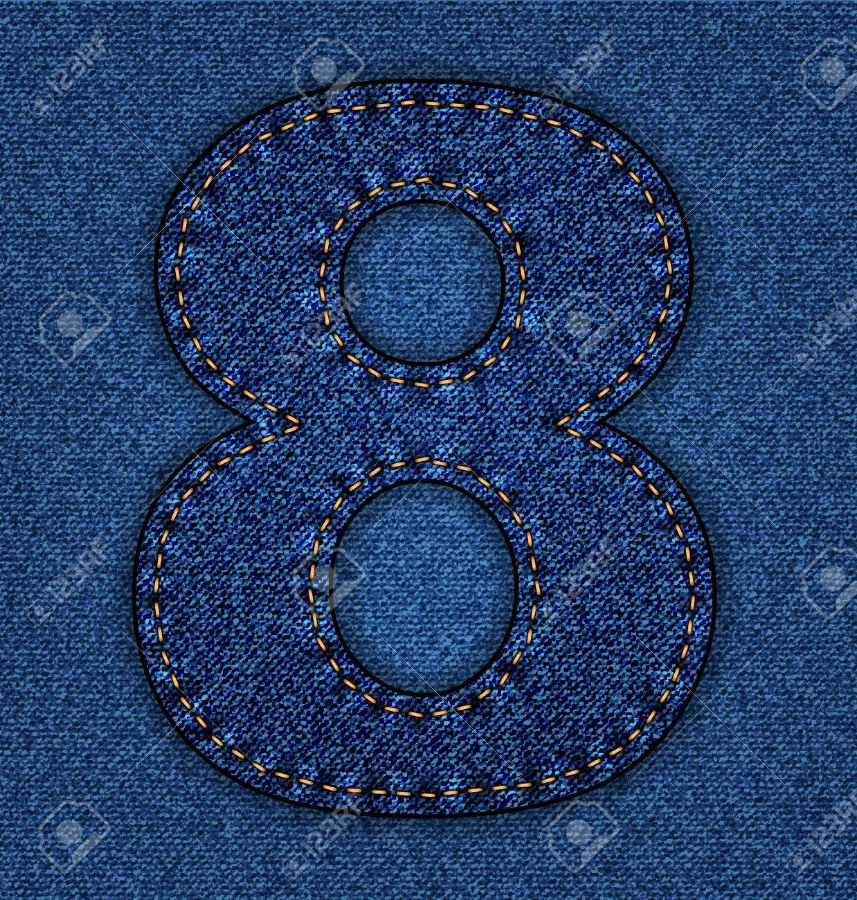 Denim number 8. Jeans alphabet.  Vector font with background Stock Vector - 24121668