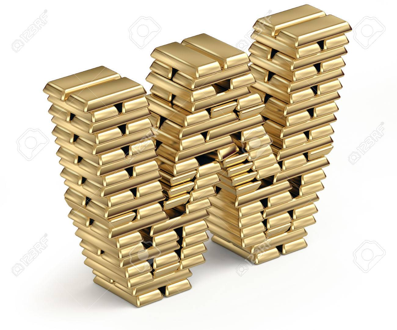 Letter W From Stacked Gold Bars D In Isometric On White Stock Photo