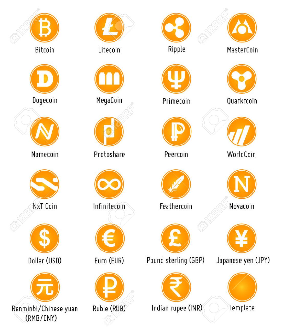 Different Cryptocurrency And Traditional Currency Vector Symbols