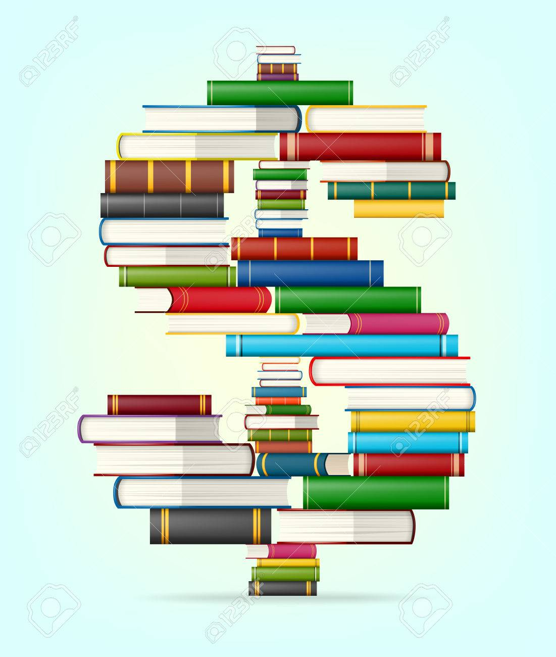 dollar sign in stacks of multicolored books illustration royalty